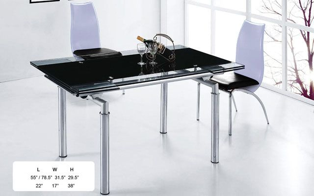 Extendable Wood And Black Glass Top Leather Complete