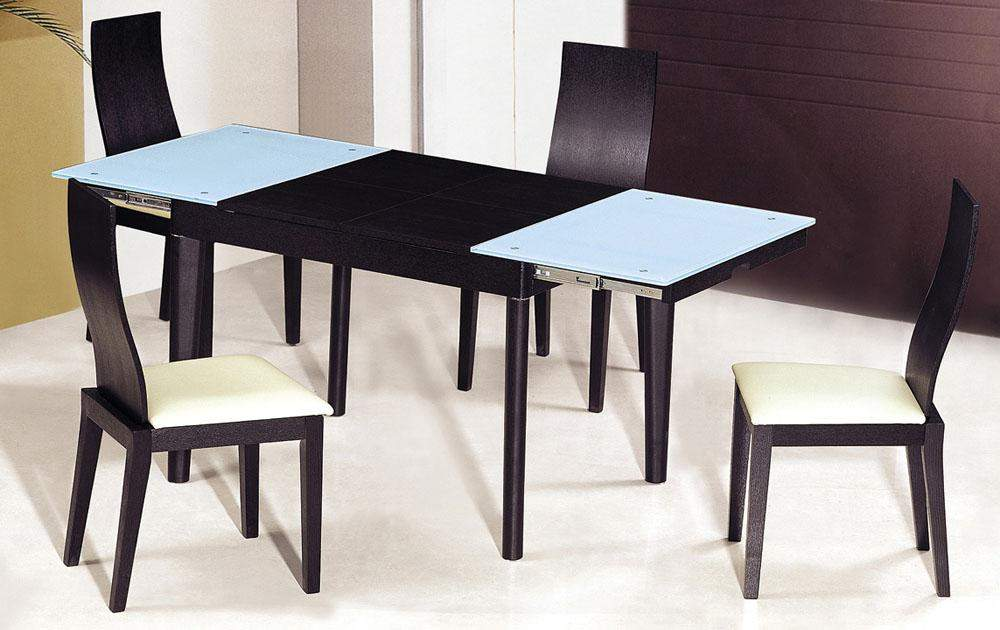 Extendable wooden with glass top modern dining table sets for Glass top dining table sets