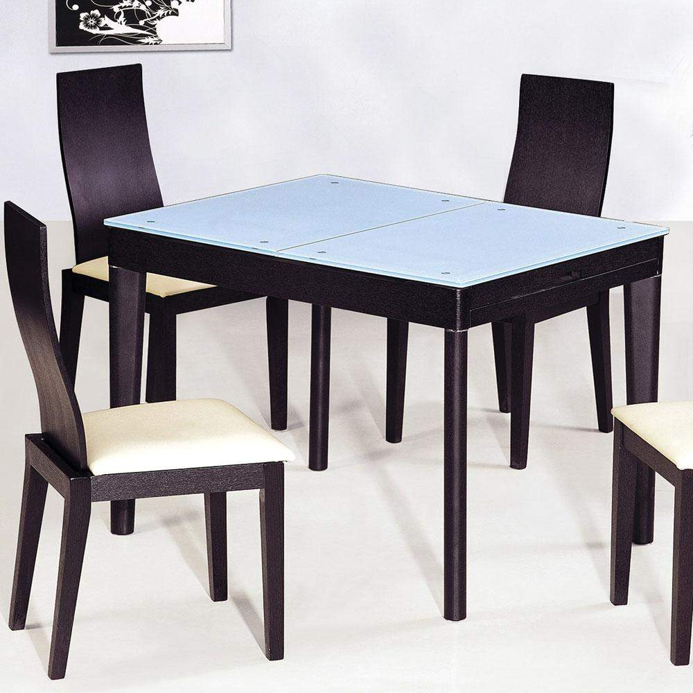 Extendable wooden with glass top modern dining table sets for Extendable glass dining table