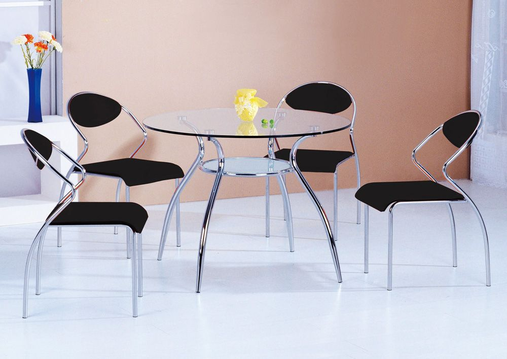 Graceful Round Glass Top Furniture Dining Set