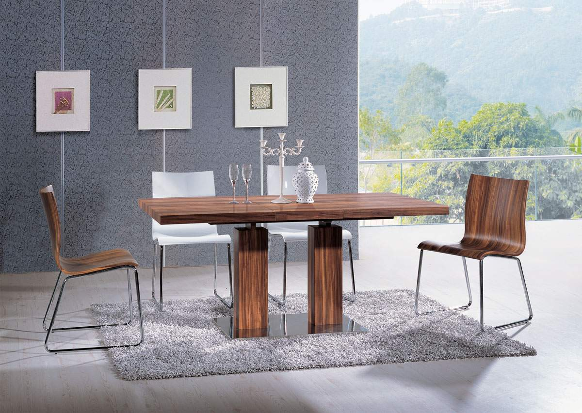 Extendable rectangular wooden italian 5 piece kitchen set for Small designer dining table