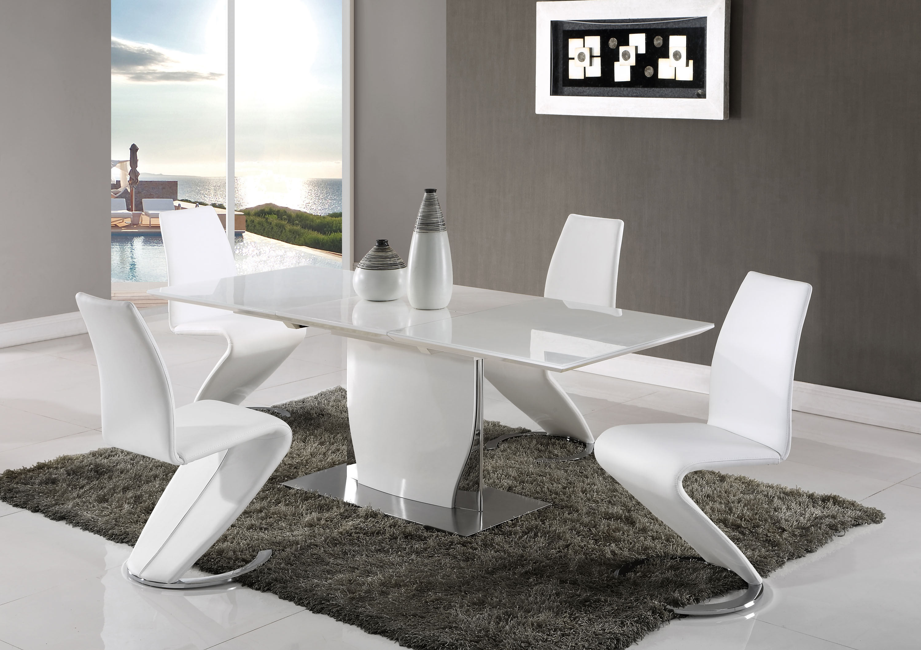 Beautiful Snow White And Chrome Dining Set With Leather