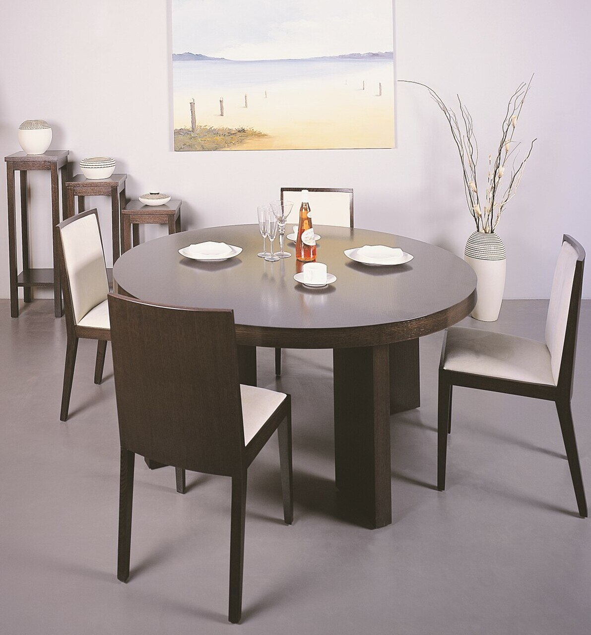 Dining Table Set Modern: Luxury Round Wooden With Microfiber Seats Modern Dining
