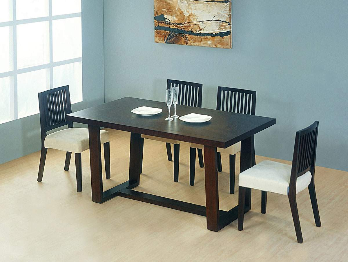 Contemporary wooden and microfiber seats designer modern for Contemporary dining set
