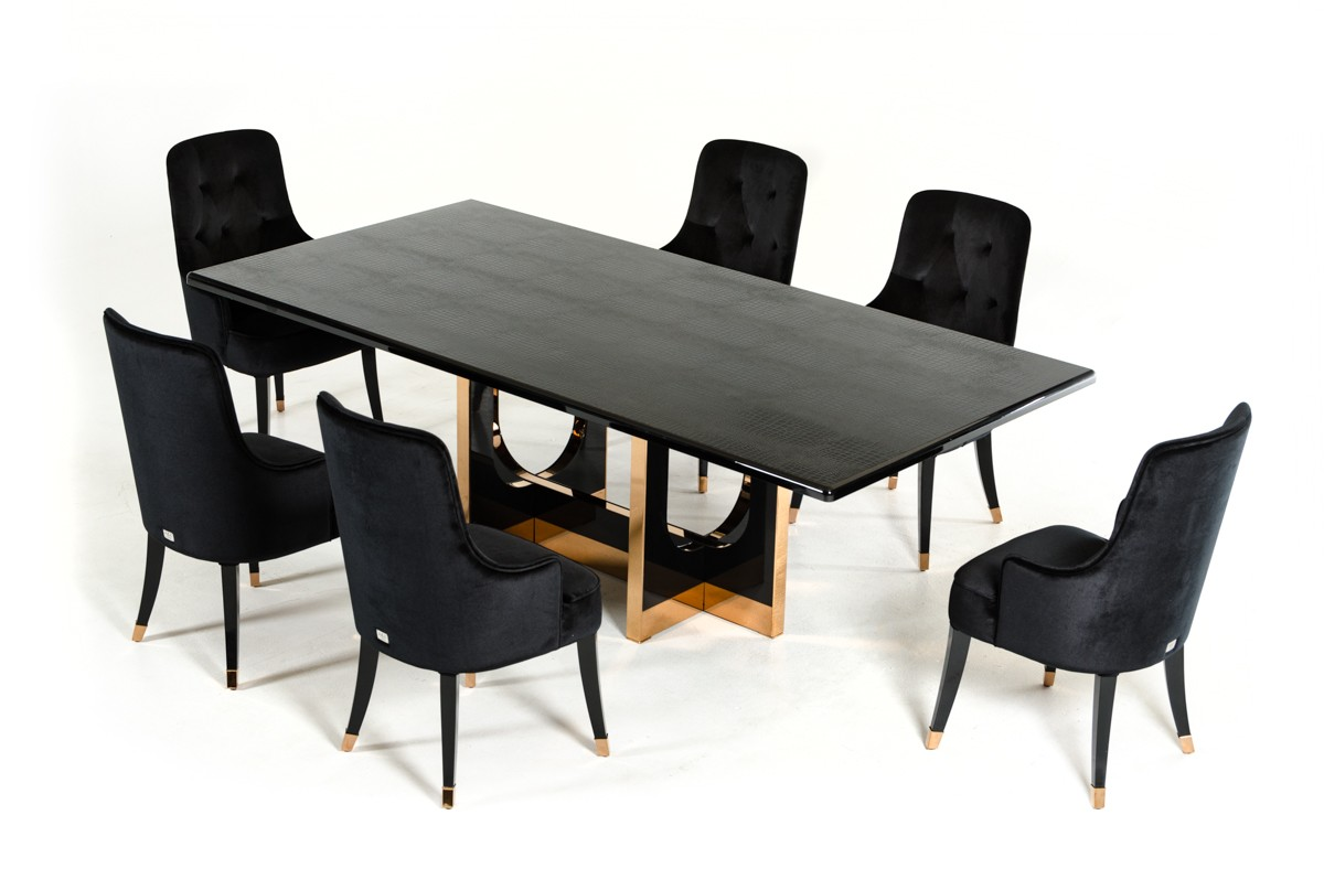 Dining Sets With Chairs Modern Black High Gloss Crocodile And Rose Gold Large Table