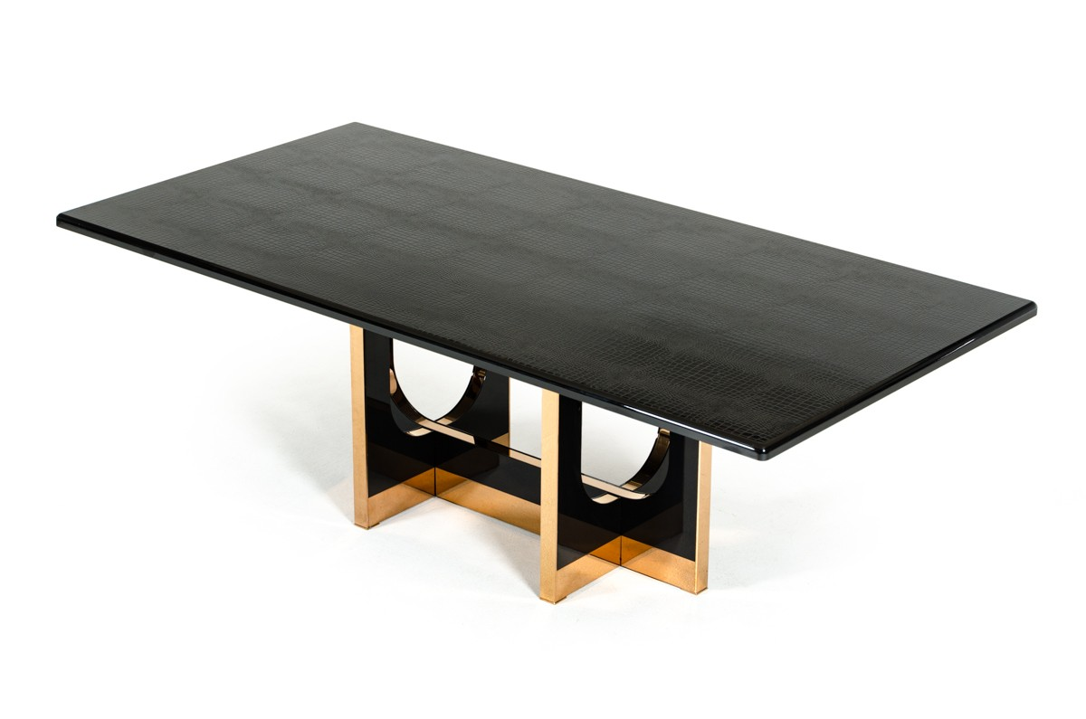 Modern black high gloss crocodile and rose gold large for Modern black dining table