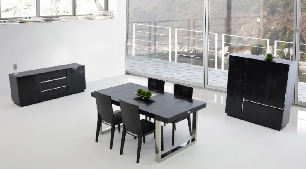 Luxury Black Crocodile Lacquer and Stainless Steel Dining Table