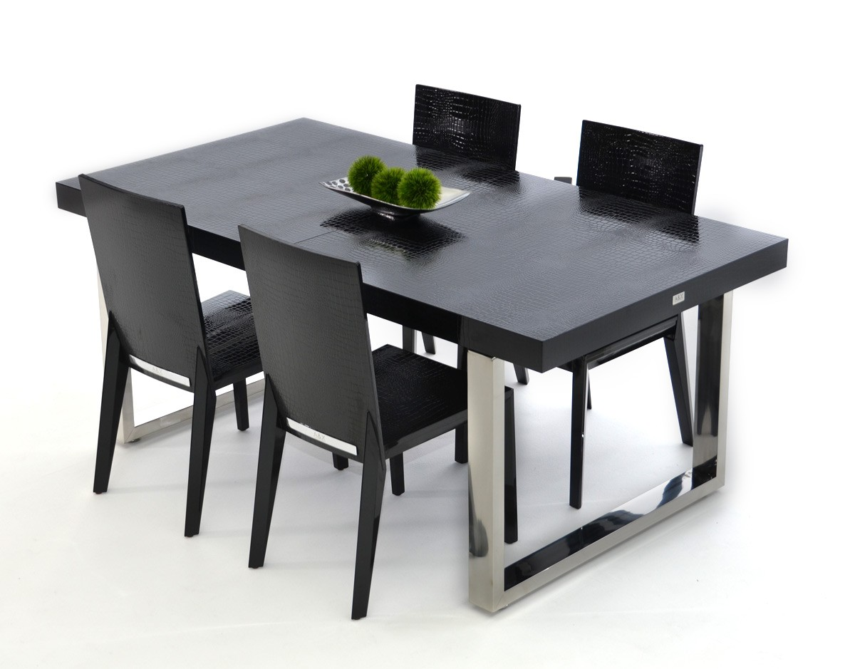Luxury Black Crocodile Lacquer And Stainless Steel Dining