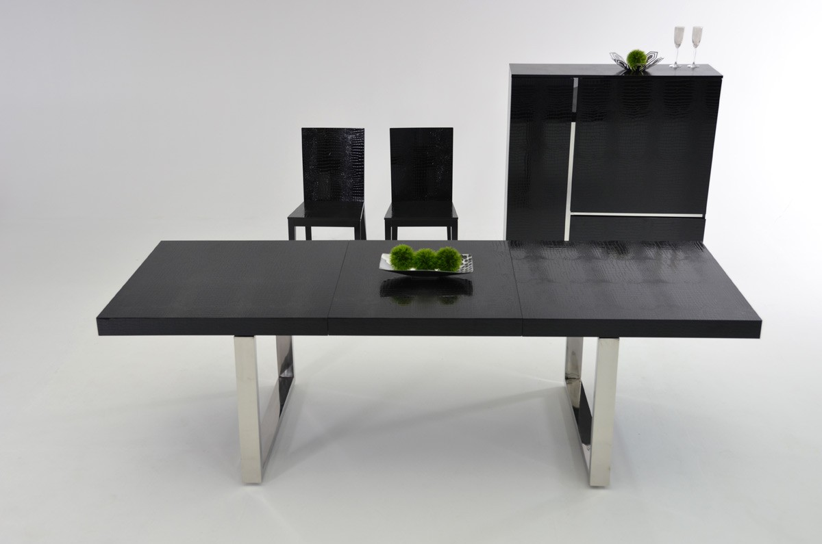 Luxury Black Crocodile Lacquer and Stainless Steel Dining Table San Jose California VIG-Skyline-AA025 & Luxury Black Crocodile Lacquer and Stainless Steel Dining Table San ...
