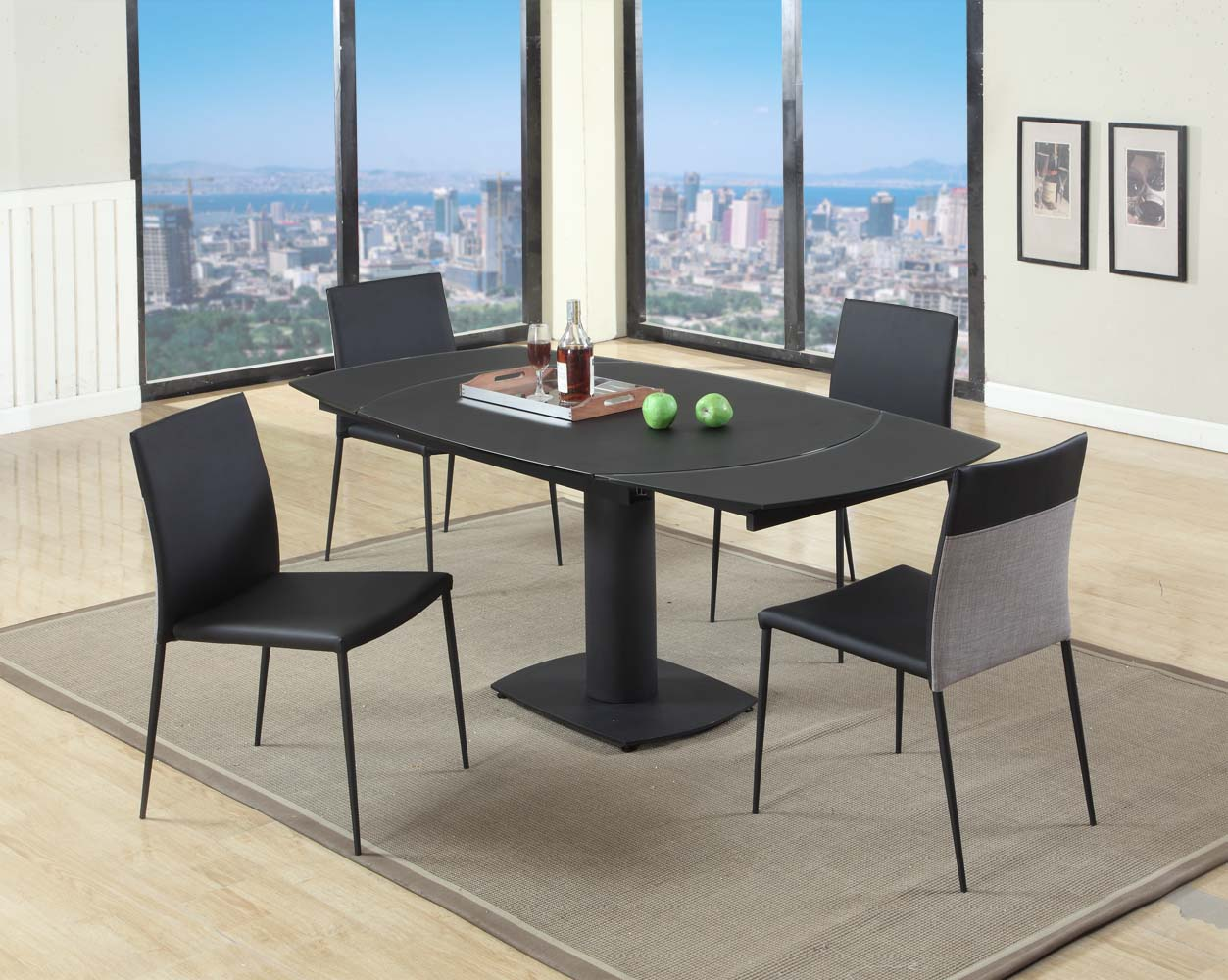 Extendable Frosted Glass Top Table And Four Chairs Miami