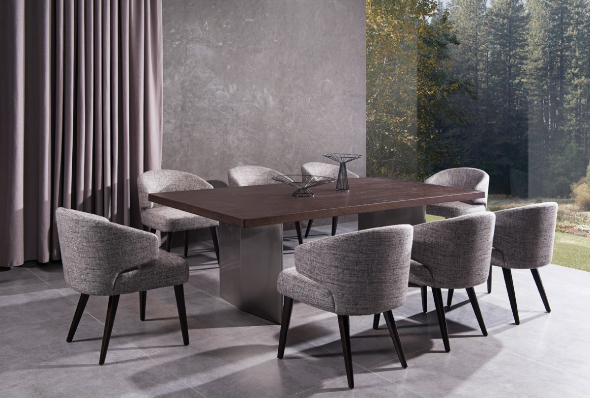 Dining Sets With Chairs. Modern Brown Oak Top And Stainless Steel Base Dining  Table