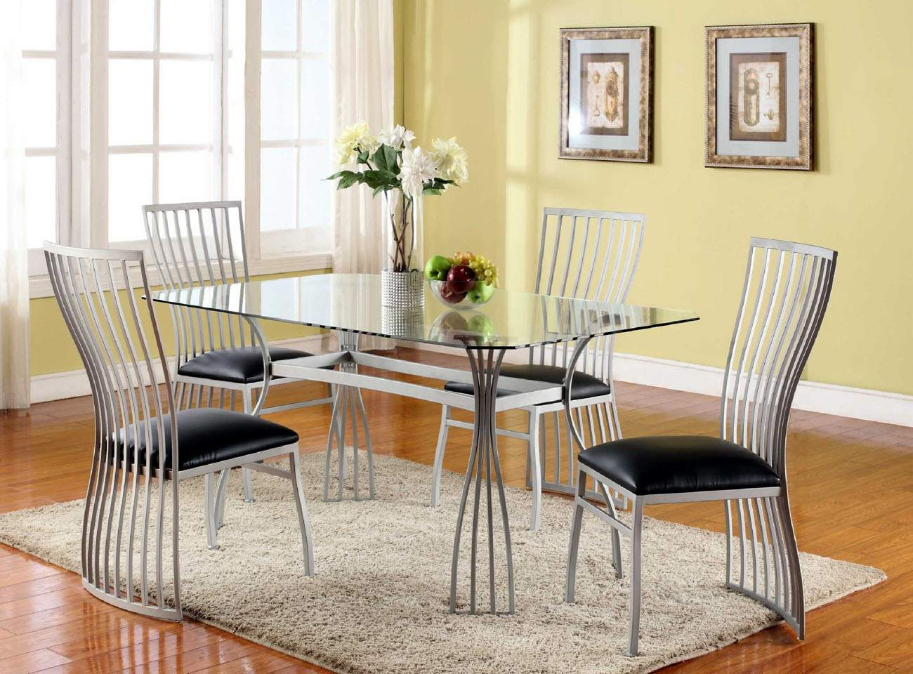 Graceful rectangular clear glass top leather designer 5 pcs table and chairs glendale arizona chaile - Designer glass dining tables ...