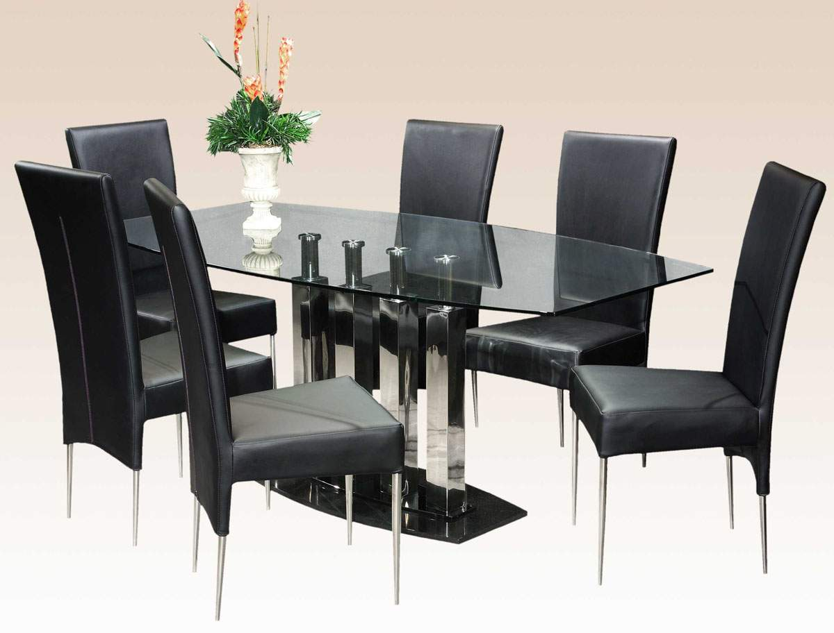 Stylish Clear Glass Top Marble Leather Modern Dinner Table Set