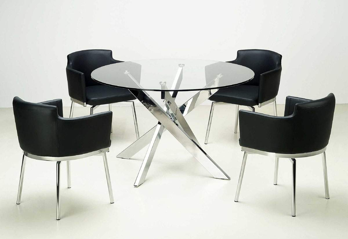 Luxurious clear glass top leather 5 pc dinette set for Contemporary dining set