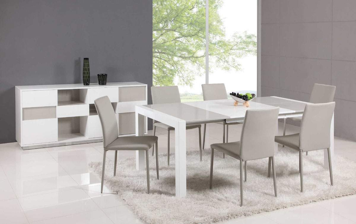 Extendable glass top leather dining table and chair sets for Contemporary dining table sets