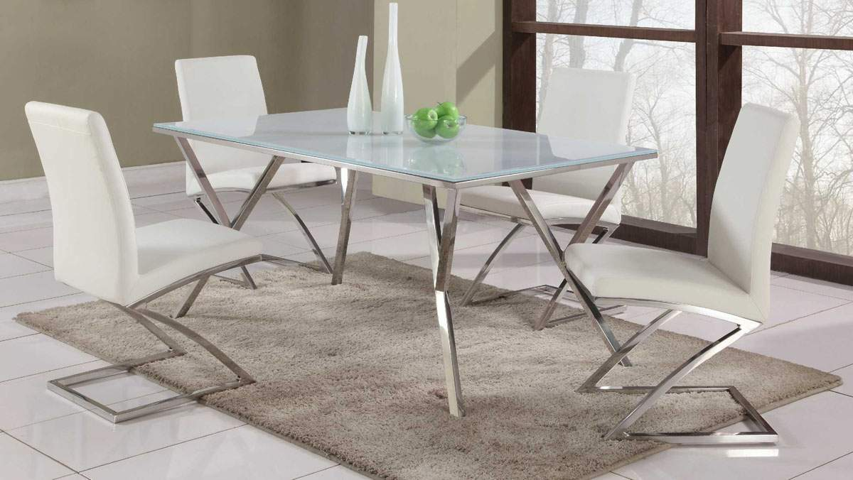 Dining Sets With Chairs High End Rectangular Glass Top Leather Table