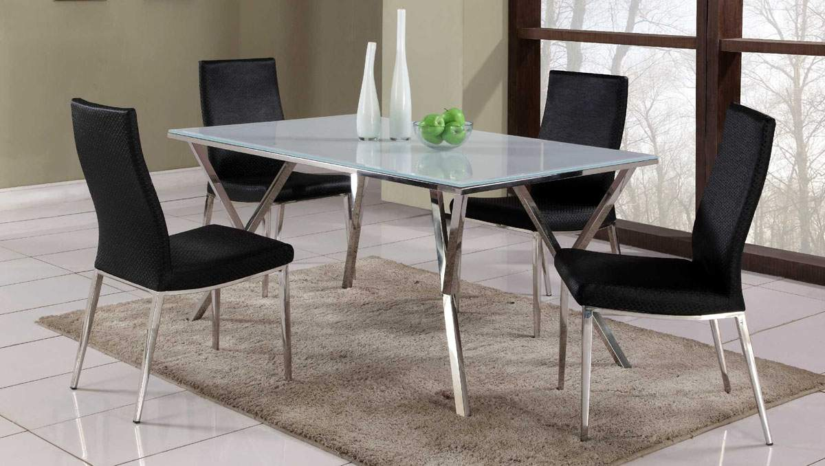 Exclusive Rectangular Glass Top Leather Dinner Table and  : ch jade jamilia black set from www.primeclassicdesign.com size 1200 x 678 jpeg 117kB