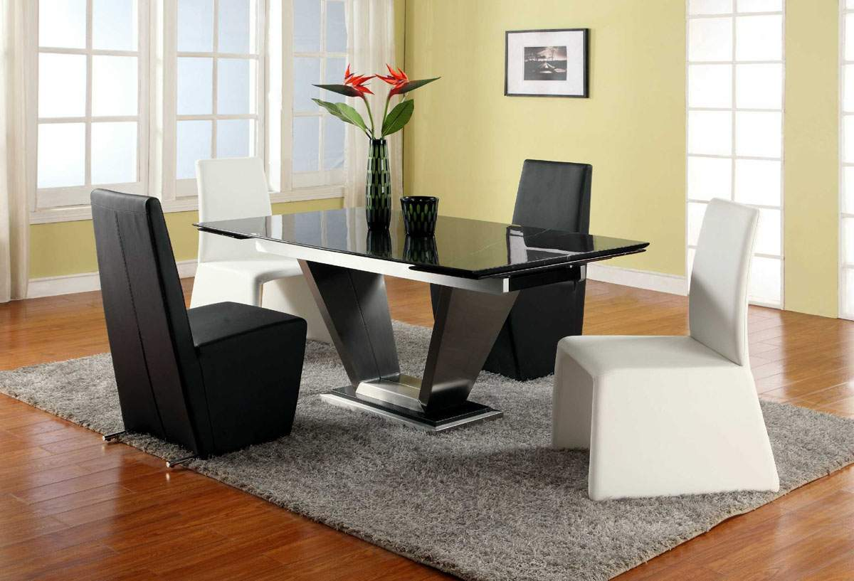 Extendable rectangular marble leather five piece modern for Contemporary dining table sets