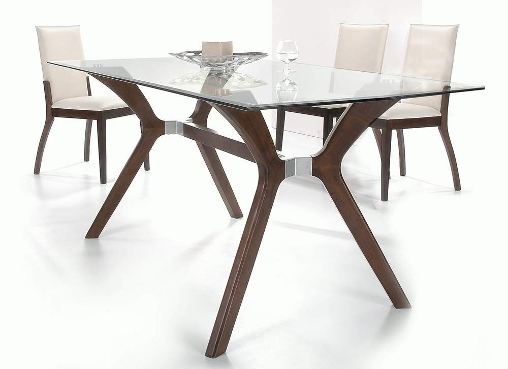 Stylish wooden and clear glass top leather dining set for Wood modern dining table