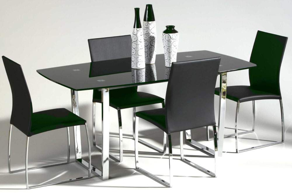 Contemporary metal and glass top leather dining room for Contemporary dining set