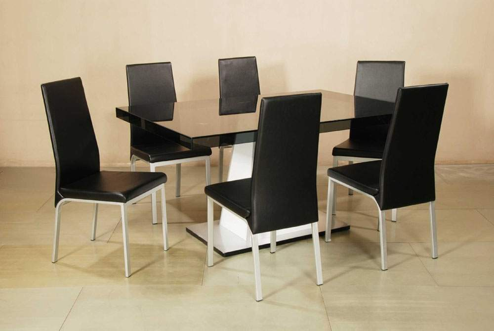 Elite Rectangular Wooden And Gl Top Leather Modern Table With Chairs