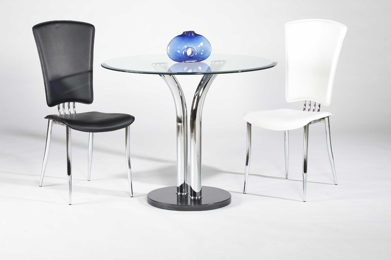 Elegant round clear glass top marble leather modern dining for Glass dining set