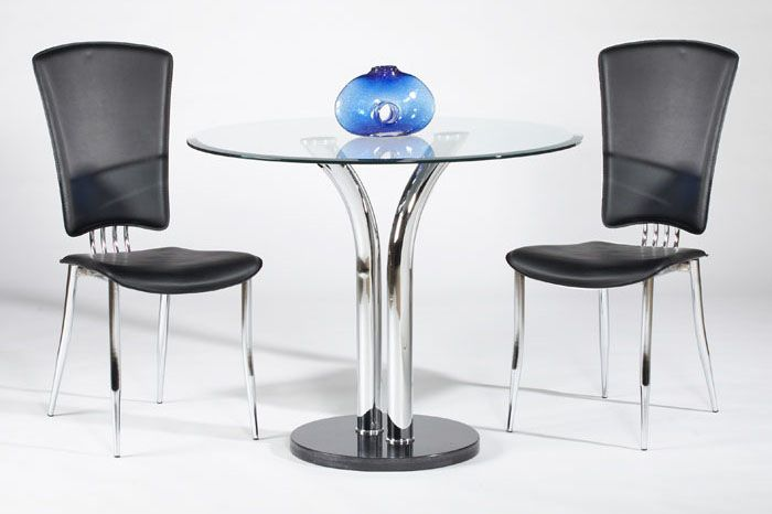 Elegant Round Clear Glass Top Marble Leather Modern Dining Set ...