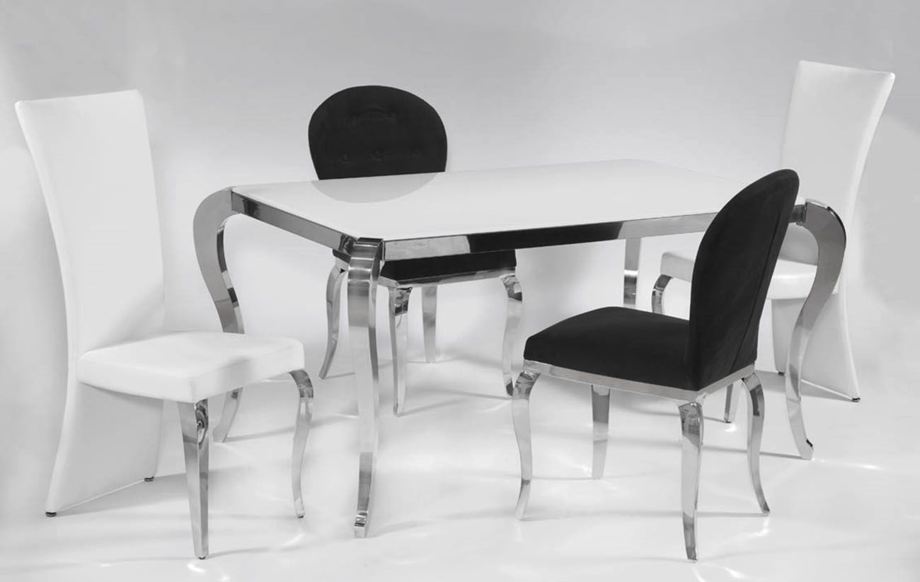 contemporary frosted glass top microfiber seats leather black white sides chrome dining room chairs leather effect