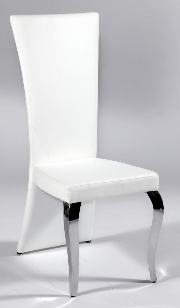 Contemporary frosted glass top microfiber seats leather for Modern white leather dining chairs