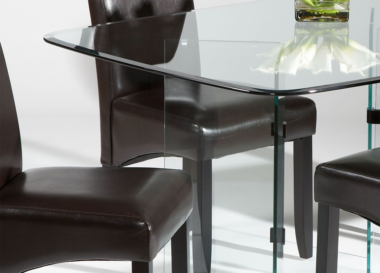 Sophisticated all clear glass table leather dining room for All glass dining room table