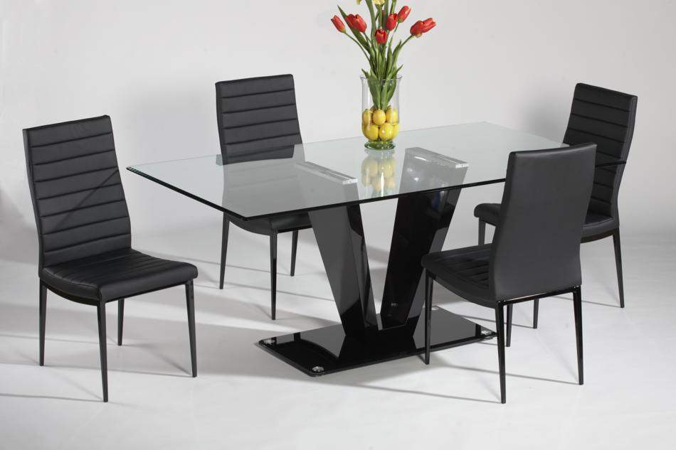 Refined Glass Top Leather Italian Modern Table with Chairs ...