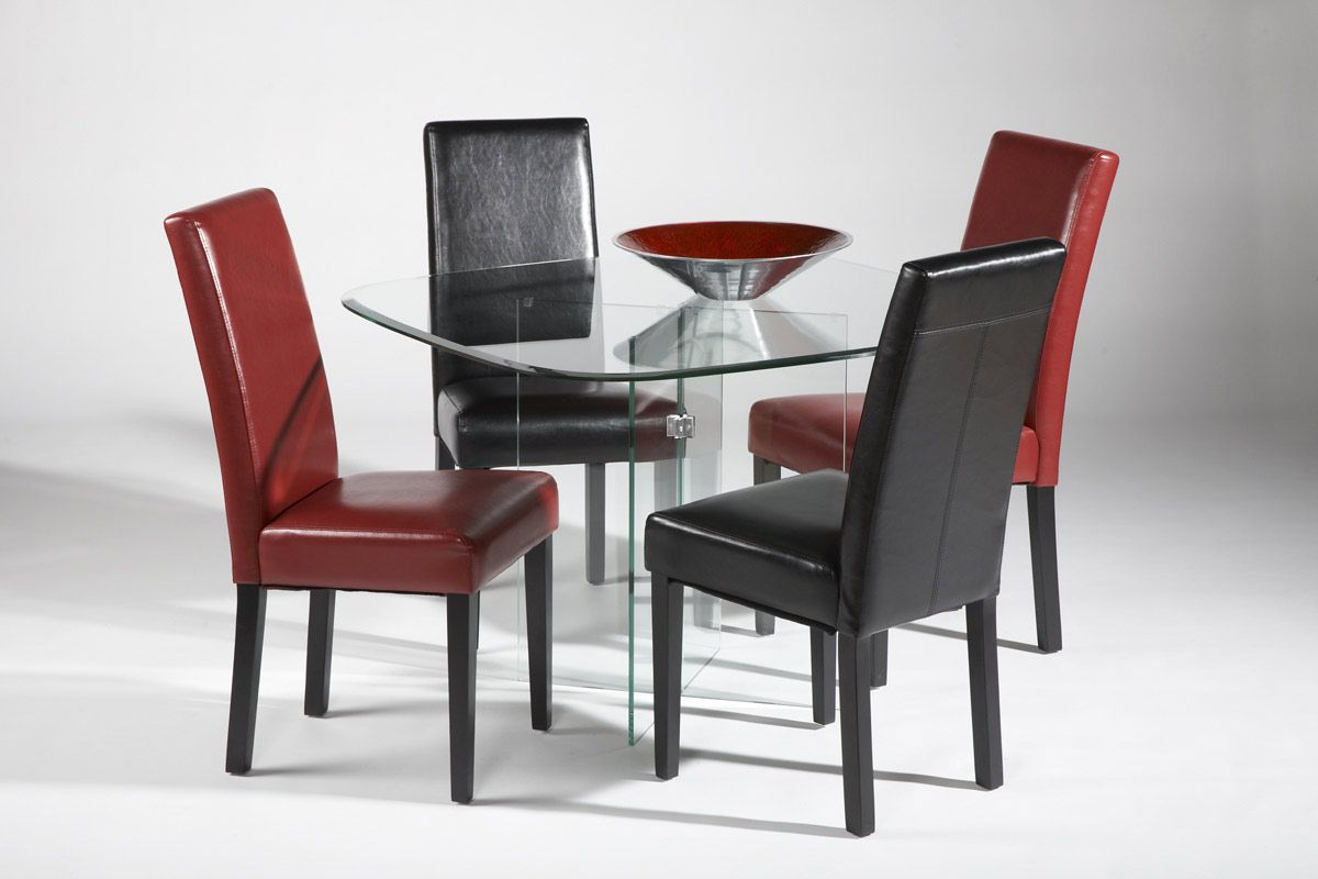 Contemporary Dining Set Of High End Rectangular All Clear Glass Top Leather Modern