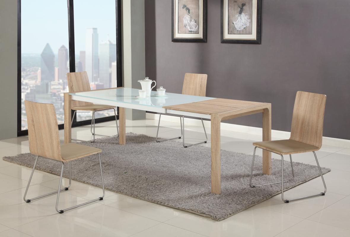 Extendable in wood glass top modern dining table sets for Contemporary dining set