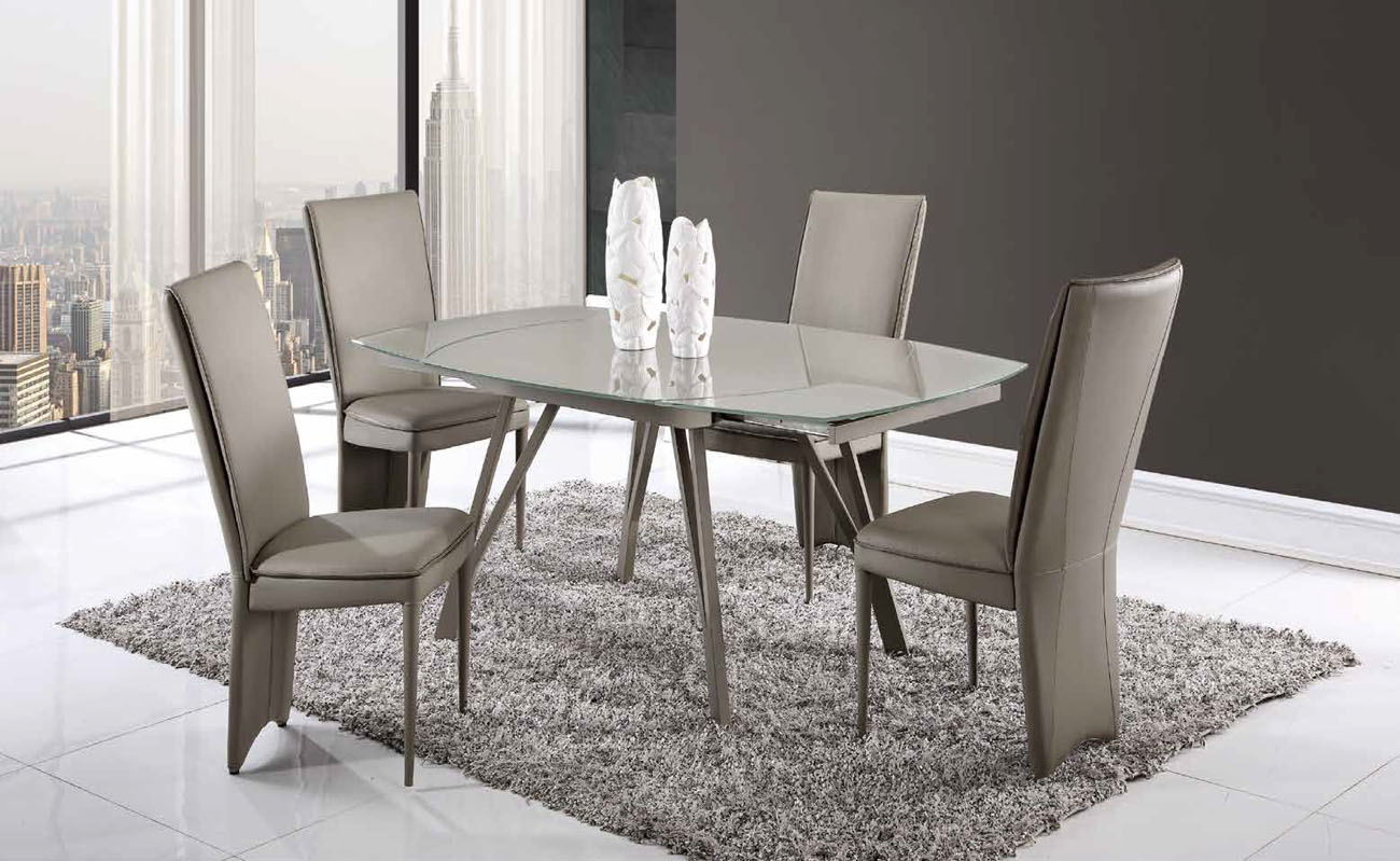 Beautiful Champagne Glass Table with Taupe Leather Chairs Boston