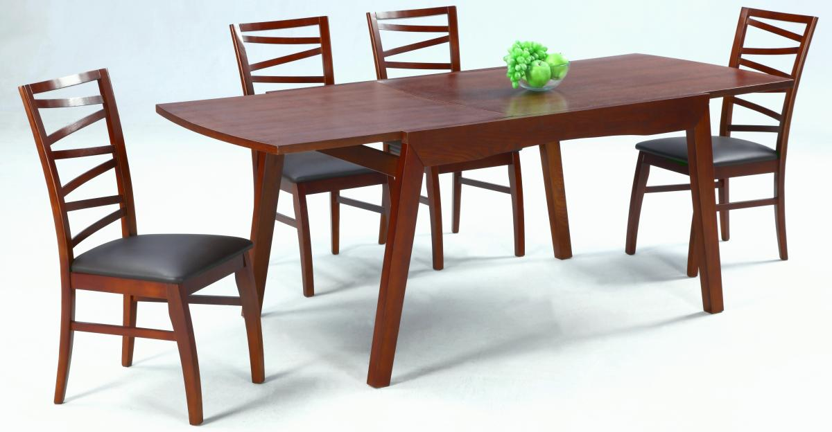 Extendable in wood leather 5 pc dinette set with leaf for Wood dining sets with leaf