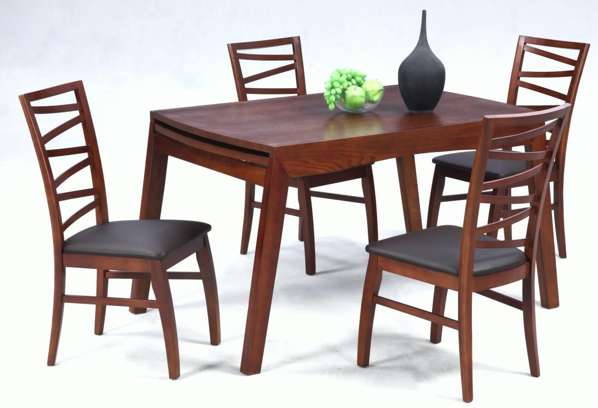 extendable in wood leather 5 pc dinette set with leaf santa ana california chcher. Black Bedroom Furniture Sets. Home Design Ideas