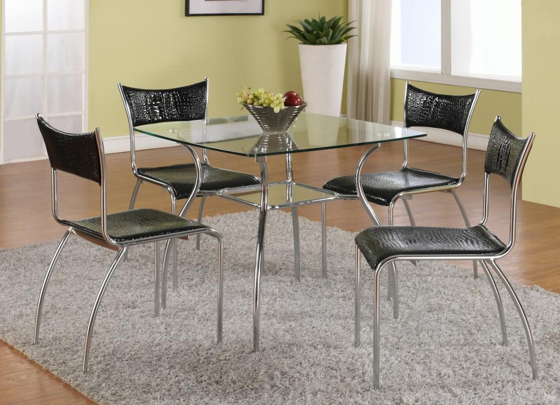 elite sqaure glass top leather five piece dining set. Black Bedroom Furniture Sets. Home Design Ideas