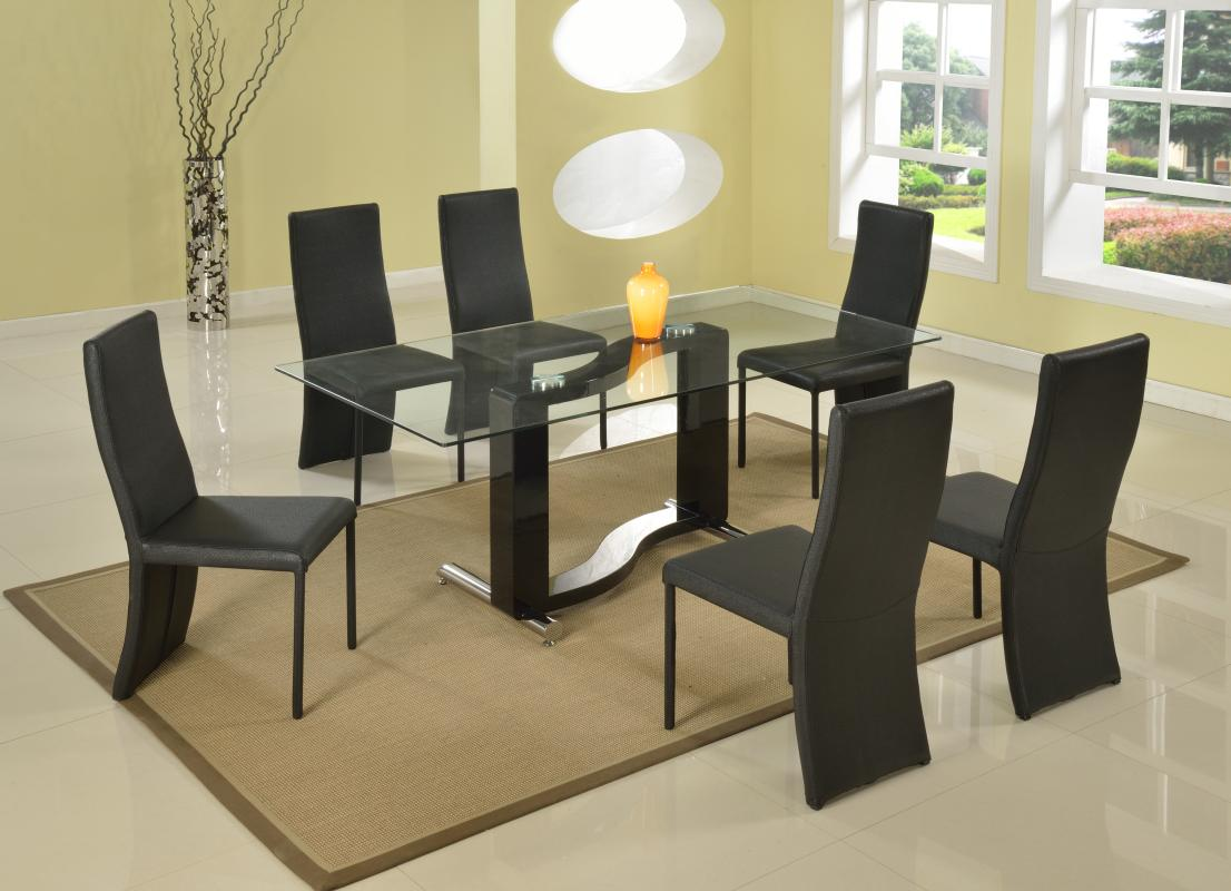 Exotic Rectangular In Wood Clear Glass Top Leather Dining Room Furniture Colo