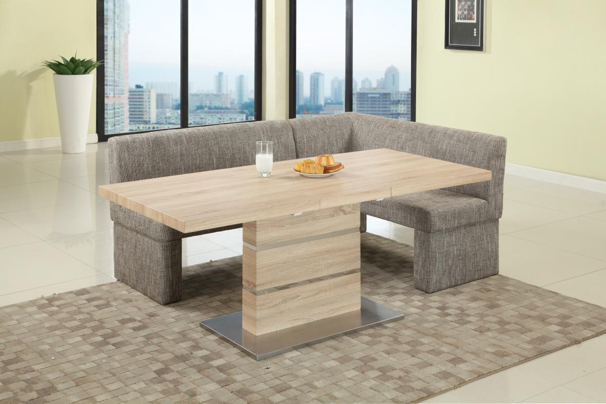 Extendable in wood fabric seats dinner table and nook mesa for Corner dining table