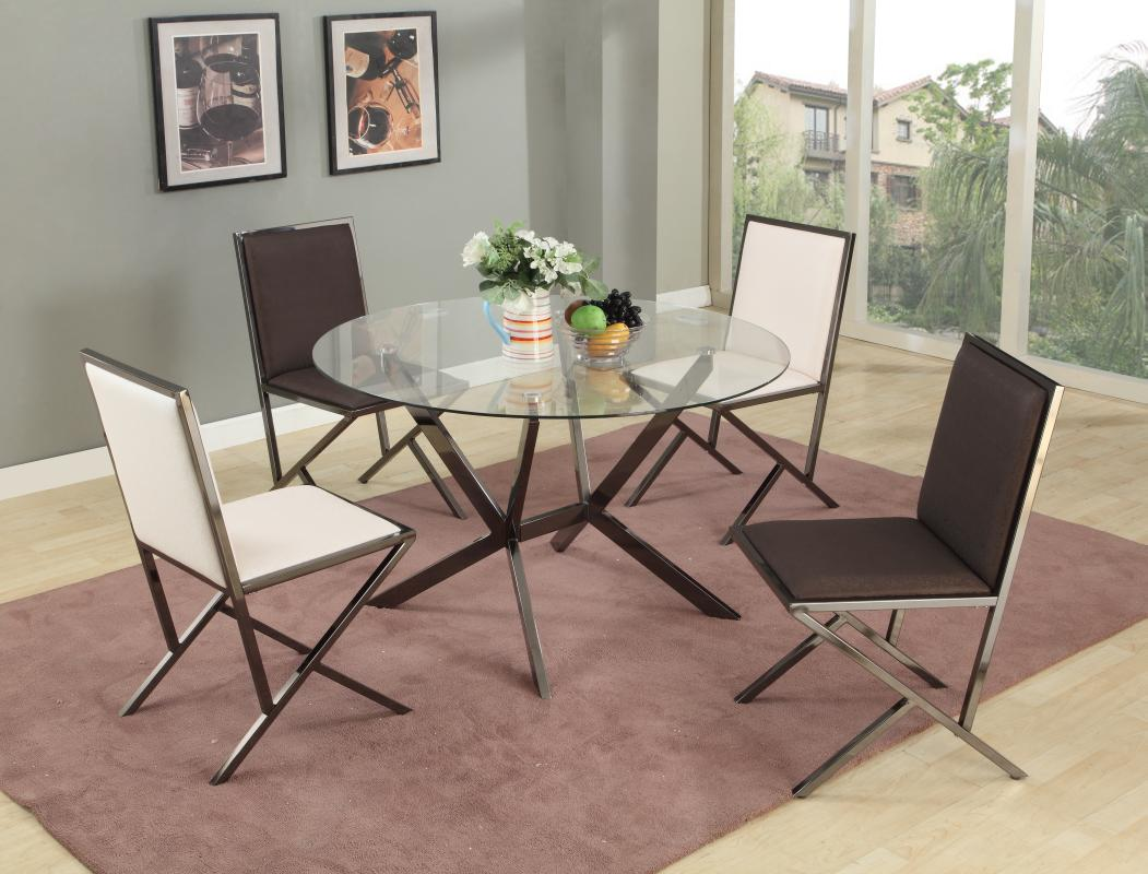 Unique round clear glass top dinette tables and chairs for Glass dining table and chairs