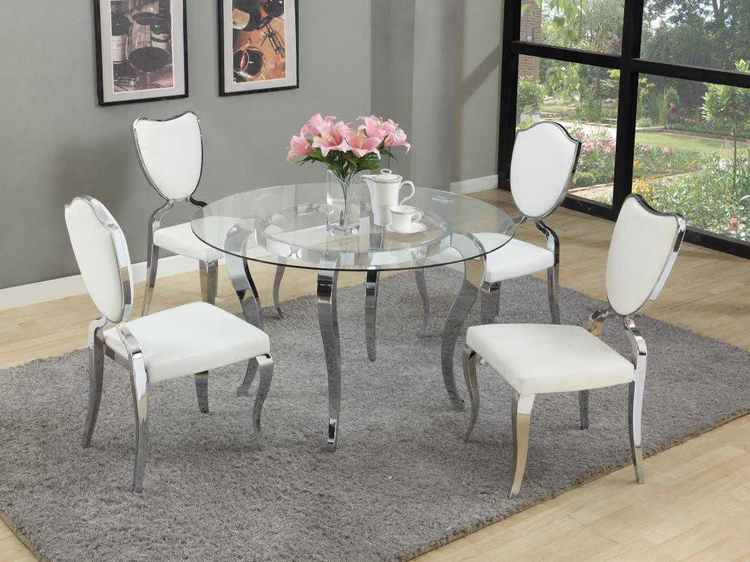 Refined round glass top dining room furniture dinette for Glass dining room table set