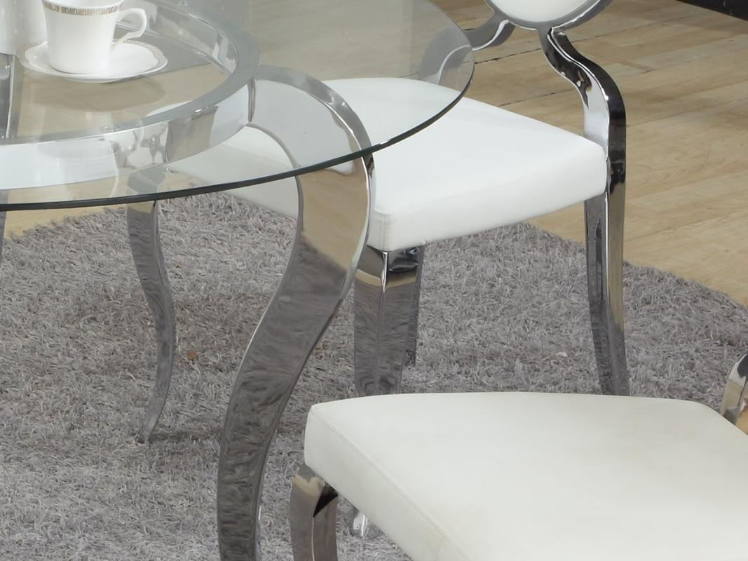 Refined round glass top dining room furniture dinette for Glass table and chairs