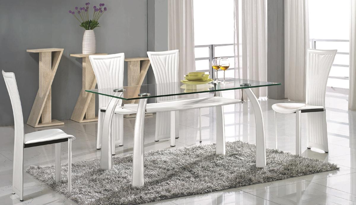 High class Rectangular Clear Glass Top Dining Table And