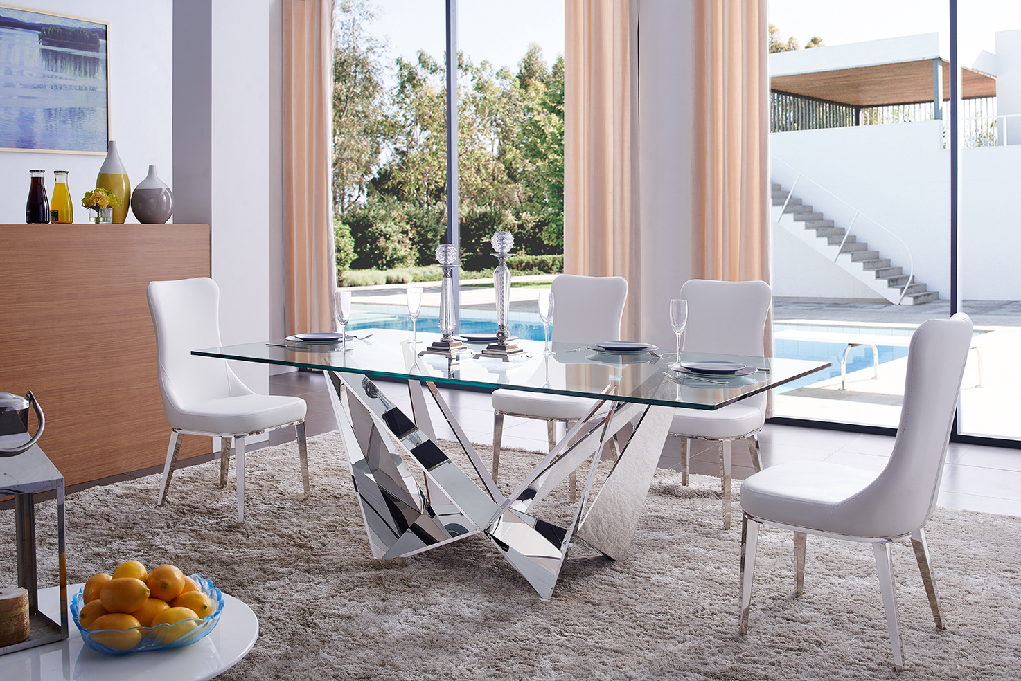 Exquisite Chrome Finished Dining Set Unique Chairs Ventura