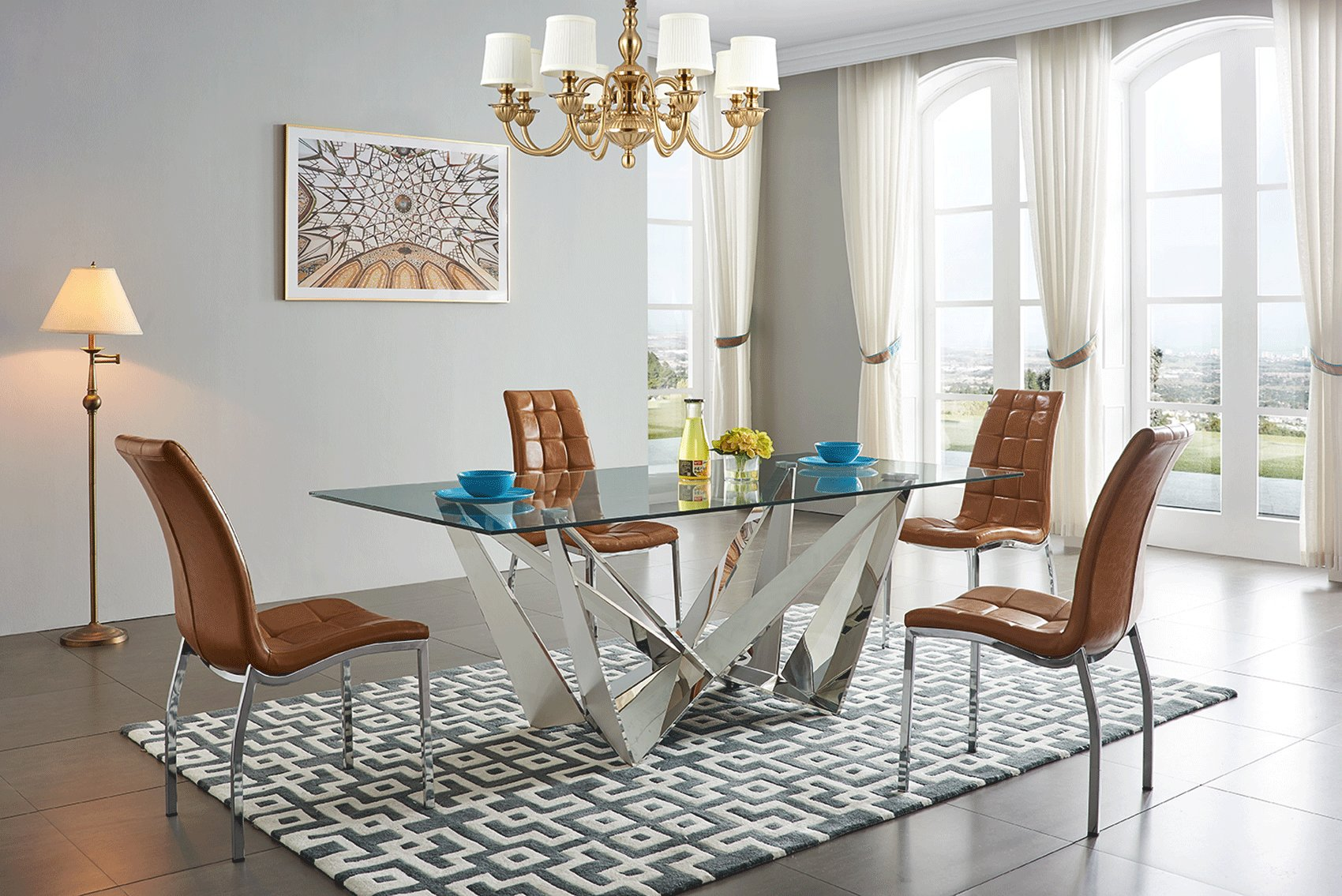 Admirable Exclusive Rectangular Glass Top Modern Dining Set Home Interior And Landscaping Ologienasavecom
