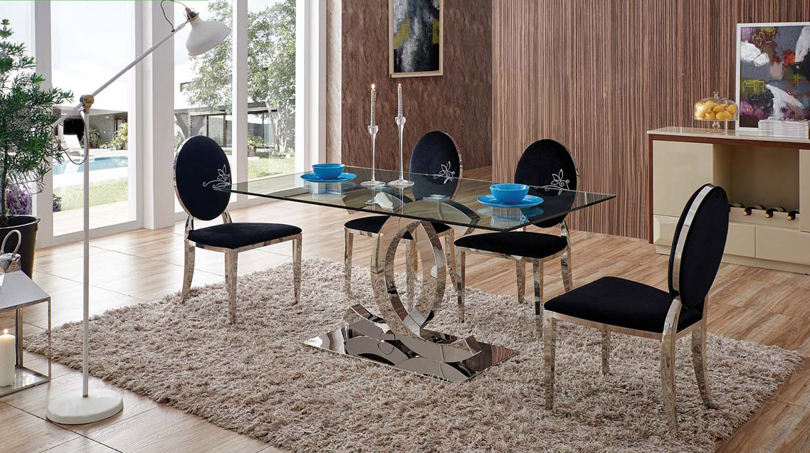 Graceful Glass Top 5 Piece Dining Room Set Providence