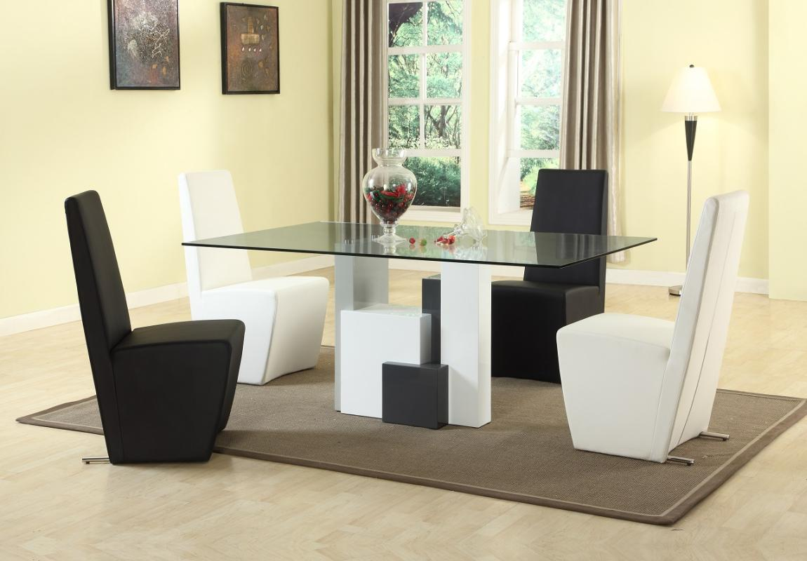 luxurious rectangular clear glass top leather complete