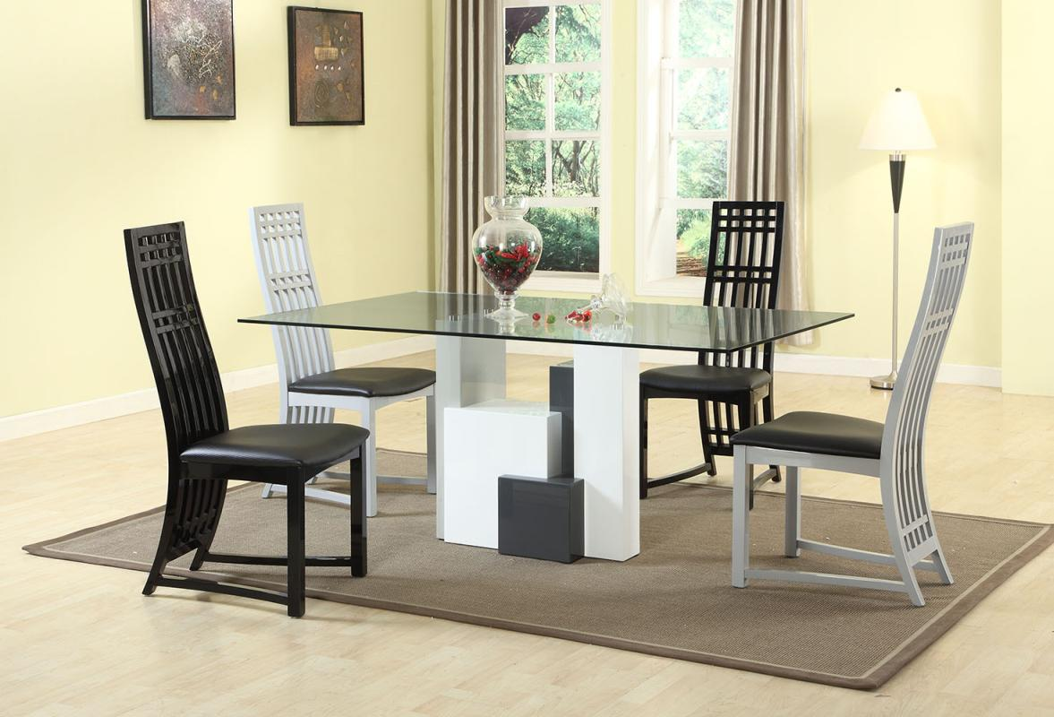 Graceful rectangular clear glass top dining table and for Glass dining table set