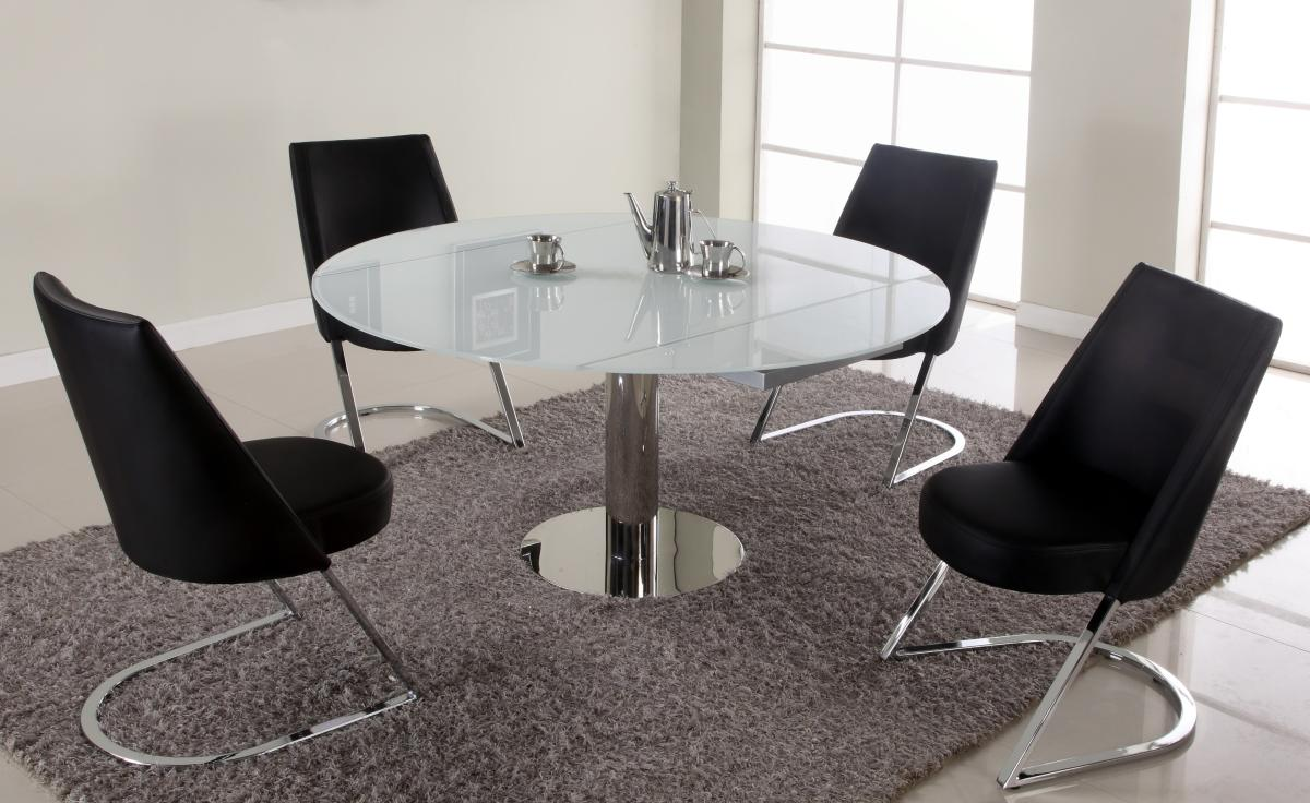 Extendable round sqaure glass top designer table set st for Contemporary dining set