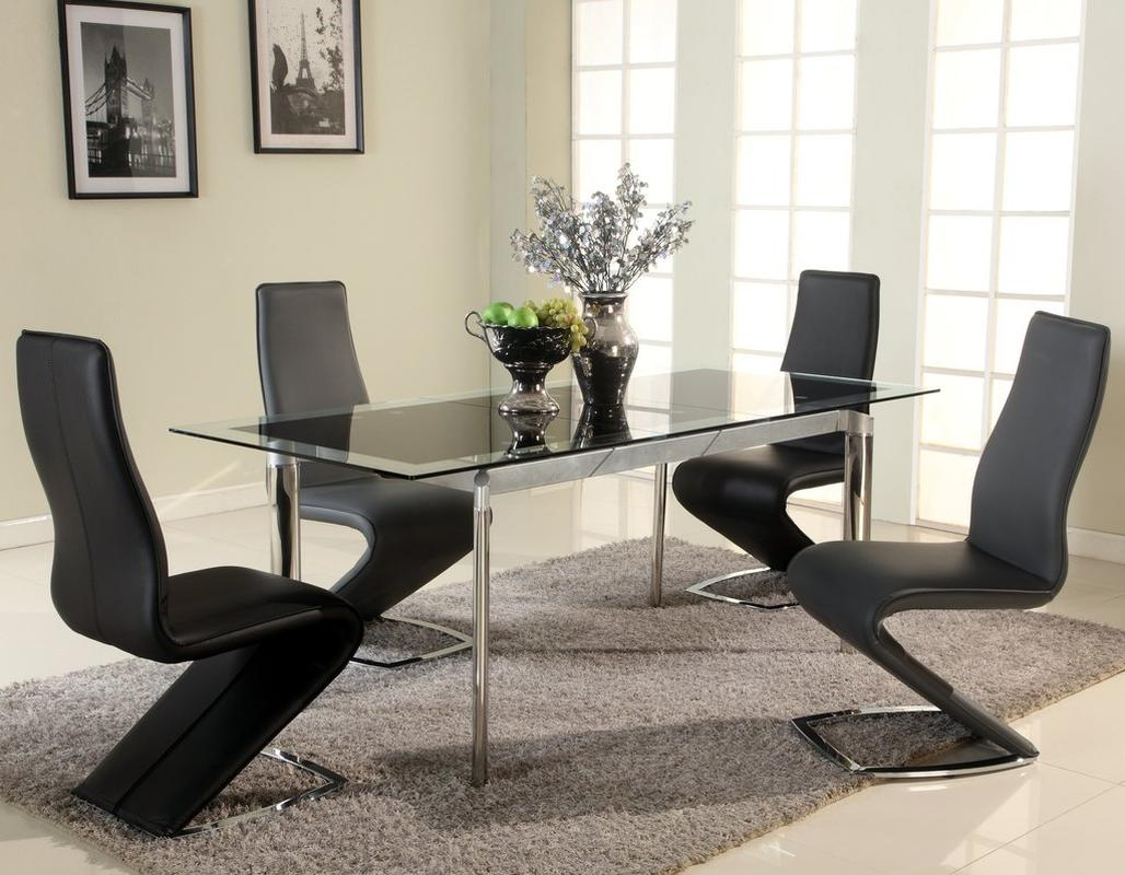 Extendable Glass Top Designer Modern Dining Room Baltimore Maryland CHTAR